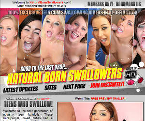 Welcome to Natural Born Swallowers - cum swallowing cuties get big loads of sperm down their throats!